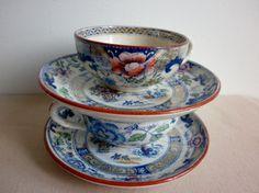 Delightful antique French tea service Creil & by LaBoutiqueTusson Tea Service, French Antiques, Tea Cups, Tableware, Creative, Handmade, Etsy, Wedding, Vintage