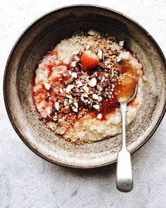 Instarecipe! Steel-Cut Oats w/ Strawberry Compote, Almonds + Lemon Curd - Izy Hossack - Top With Cinnamon