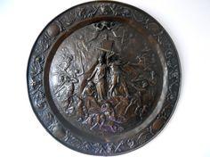 In Hoc Signo Vinci - Raro tondo in rame del 1800 raffigurante Costantino e la Regina Elena alla battaglia di Ponte Milvio