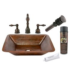 Premier Copper Products brings you the LREC19DB complete with a widespread faucet package. This elegant faucet has an oil rubbed bronze finish giving your bathroom a classy finish.