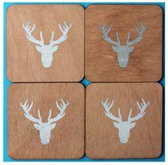 silver deer coasters by CutOutsProductDesign on Etsy Deer, Coasters, Silver, Etsy, Drink Coasters, Coaster Set, Red Deer, Reindeer, Coaster