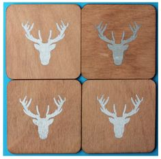 silver deer coasters by CutOutsProductDesign on Etsy