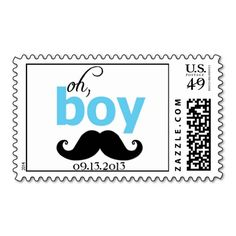 Blue It's a Boy Mustache Baby Shower Postage. I love this design! It is available for customization or ready to buy as is. All you need is to add your business info to this template then place the order. It will ship within 24 hours. Just click the image to make your own!