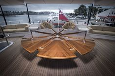 Expanding Round Table On A Mega-Yacht | Expanding round table, Teak ...