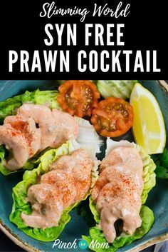 "This slimming friendly Prawn Cocktail is an ""Oldie but a goodie"" It's a Weight Watchers and Calorie Counting friendly version of the old favourite! Slimming World Salads, Slimming World Recipes Syn Free, Slimming Eats, Slimming World Starters Recipes, Slimming World Lunch Ideas, Prawn Recipes, Fish Recipes, Seafood Recipes, Recipies"
