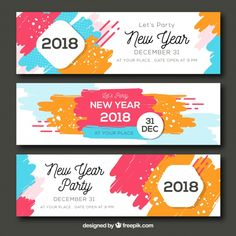 Set of three abstract colourful new year party banners Free Vector - BestGrap Banner Design Inspiration, Web Banner Design, Brochure Design Inspiration, Event Poster Design, Creative Poster Design, Flyer Design, Fb Banner, Certificate Design, Party Banners