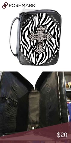 """Black Zebra Print Bible Tote ON SALE Normally $20 Stylish bible tote rhinestones and with pocket as well. Show-stopping stripes add runway style to this functional Bible tote. A favorite for any fashion-forward Christian lady! Faux leather(PU) with nylon lining; metal cross with plastic beads. 10 3/4"""" x 2 1/2"""" x 7 3/4"""" high; 11 1/2"""" high with handles.        ♡GOD BLESS♡ ☆BUNDLE AND SAVE☆ Bags Totes"""