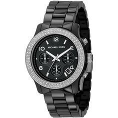 Michael Kors Watch, Women's Chronograph Stainless Steel And Black Ceramic Bracelet 38mm Mk5190 found on Polyvore