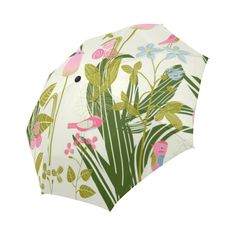 Pink Flowers Birds Cute Floral Landscape Auto-Foldable Umbrella
