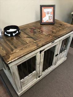 Farmhouse Style Single Dog Kennel By Kennel And Crate Barn Door - Wooden dog crate coffee table