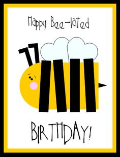 Happy Belated B-Day Card :: Makes me want to send someone's card late (purposely!!!) just to make this cute BEE with Washi Tape!!!