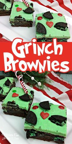 Christmas Grinch Brownies - Kitchen Fun With My 3 Sons christmas food treats Grinch Christmas Decorations, Grinch Christmas Party, Christmas Snacks, Christmas Cooking, Christmas Goodies, Christmas Candy, Christmas Parties, Grinch Party, Grinch Cake