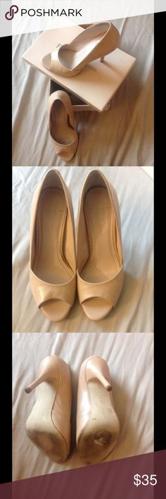 """Peep Toe Heels Stunning BCBG Izzie 2 peep toe heels. Color in Nude. Excellent used condition. Flaws shown in picture. Smooth surface. Height of heel is about 4"""". Gorgeous with any out fit. BCBGeneration Shoes Heels"""