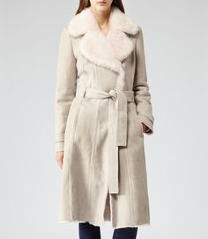 Womens Pale Pink Shearling Leather Coat - Reiss Minelli