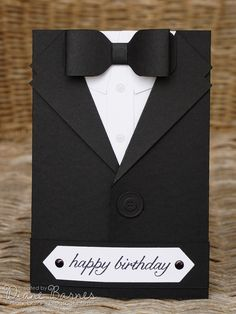 masculine suit - tuxedo birthday - fathers day card with tutorial - instructions using Stampin' Up supplies. By Di Barnes #colourmehappy #stampinup #makesomething