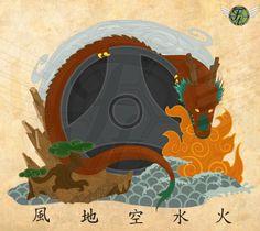 Garyu to Gogyo , The Reclining Dragon and 5 Elements by Hardus Jonker, via Behance Kyokushin Karate, 5 Elements, Recliner, Dragon, Behance, Illustration, Behavior, Illustrations, Recliners