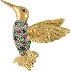 Gold Hummingbird Brooch / Pin - Diamond, Ruby, Sapphire, Emerald, 14k gold, circa 1960