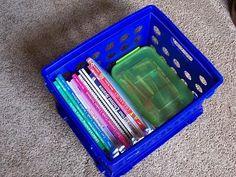 Organizing Homeschool Books | the creative mama- nice simple homeschool storage using what we already have. Planning And Organizing, Organizing Ideas, Organization, Homeschool Books, Homeschooling Resources, Class Room, Rv, Teaching, How To Plan