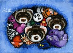 Fuzzy Things- Ferret Art Original Painting - by Shelly Mundel Original Artwork, Original Paintings, Ferret, The Originals, Canvas, Halloween, Pets, Handmade, Stuff To Buy