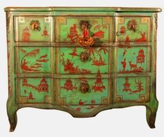 Polly McArthur in Seattle showcases as stunning reproduction of an century Louis XV chest that is painted with a blue base colour and painted in red chinoiserie decorations. The drawers are lined with vintage Fortuny fabric. Hand Painted Furniture, Paint Furniture, Antique Furniture, Furniture Decor, Distressed Furniture, French Furniture, Furniture Styles, Upcycled Furniture, Furniture Design