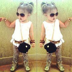 Conjunto infantil para meninas camiseta calça e cinto de oncinha