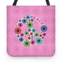 Peace Tote #peace #flower #hippie #pink #tote