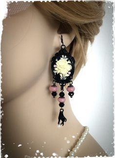 Black and Pink Victorian Cameo Chandelier by CandiedCherrybyKC