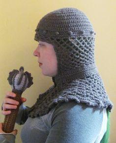 Chainmail hood medieval silver glitter yarn crochet fantasy armor