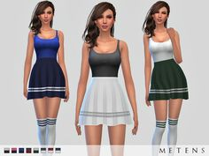 Includes the dress and the knee high socks inspired by Serebro Found in TSR Category 'Sims 4 Female Clothing Sets'