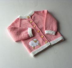 Pull fille bébé rose avec la veste en laine mérinos agneau