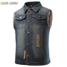 2016 New Arrival mens denim vest vintage sleeveless washed jeans waistcoat  Men cowboy ripped jacket Tank Top 3aaa2c0dff21d
