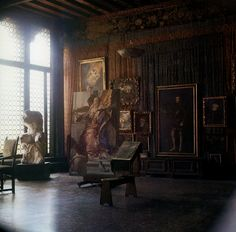 A corner of the salon-studio in the Palazzo Fortuny, hung with Mariano's copies of Old Masters. … When Mariano first arrived in Venice, he enrolled for night classes at the Accademia, not far from his home, in order to perfect his drawing technique. In 1892 he sent two 'Accademia' studies to his grandfather, Federico Madrazo, who is reported to have liked them very much. But Fortuny the artist was not the product of any painting academy, and even if he were heir to a great academic…