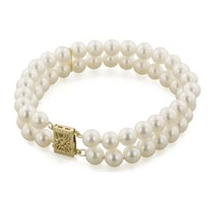 """Honora 7 Inch """"Classic"""" 6-7mm Double Strand White Freshwater Cultured... ($440) ❤ liked on Polyvore featuring jewelry, bracelets, 14 karat gold jewelry, freshwater pearl jewelry, white bangle, cultured pearl jewelry and fresh water pearl jewelry"""