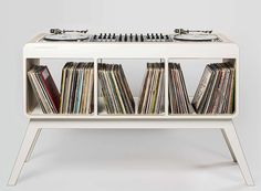 hoerboard's Com.Four DJ stand combines retro design with storage space