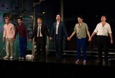 Tom Rhys Harries (Silver Johnny), Ben Whishaw (Baby), Rupert Grint (Sweets), Daniel Mays (Potts), Colin Morgan (Skinny) and Brendan Coyle (Mickey) at the opening night curtain call for MOJO.