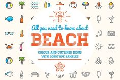 Awesome Beach/Bar Icons and Logo Set by Ckybe's Corner on @creativemarket