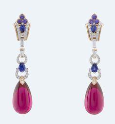 Van Cleef & Arpels - Seven-seas collection. Earrings. Rubellite, Chalcedony, blue & mauve sapphires, diamonds.