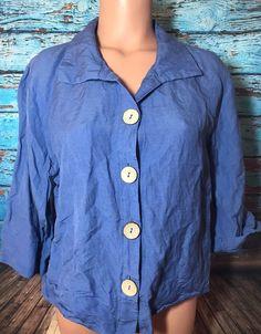 Nomadic Traders Women's Blue Purple Linen Blouse Top Sz M Medium Shirt  | eBay