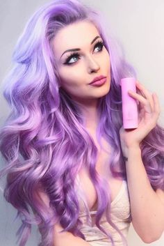 Hair styles Pastell Haarfarbe / / lila Haare / / lange Haare / / Strand Wellen / / rosa Highlights T Hair Color Purple, New Hair Colors, Cool Hair Color, Purple Gray, Black Ombre, Pastel Hair Colors, Pastel Pink, Purple Ombre, Crazy Colour Hair Dye