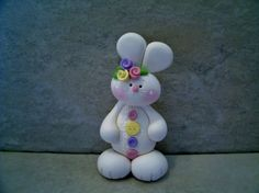 Buttoned Up Bunny   Figurine by countrycupboardclay on Etsy