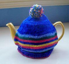 Pompom Tea Cosy fun knit Teapot Cozy blue by SpinningStreak