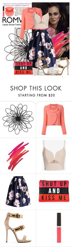 """""""ROMWE (click to see the right skirt!)"""" by bianca-mareva ❤ liked on Polyvore featuring Universal Lighting and Decor, Carven, Revlon, Zimmermann, Chicwish, Express, Giuseppe Zanotti, Becca and tarte"""