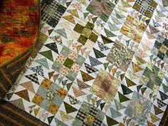 Flying Geese meet Nine Patch: Mullum Mullum Autumn Quilt from patchworknplay.blogspot.com.