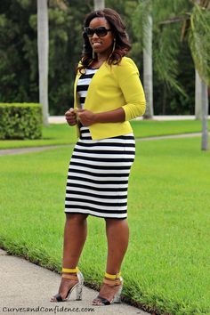4 black and white striped pencil skirt, black and white striped top, yellow cropped blazer, curves and confidence