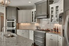 Kitchen with White and Gray Cabinets, Transitional, Kitchen, Benjamin Moore Kendall Charcoal, Gonyea Homes