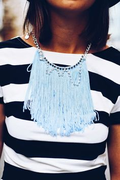 Statement fringe necklace light blue handmade by JewelryLanChe