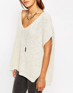 Image 3 of ASOS TALL Sleeveless Chunky Knit Top With V Back And Side Splits