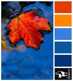 Autumn Leaf: Blue, Orange - Designcat Colour Inspiration Pallet