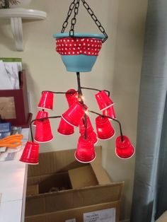 Mini Red Solo Cup Chandelier
