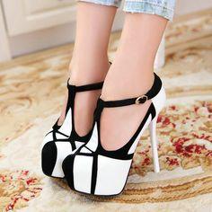 Moda 2014 plataforma bombas moda sexy de salto alto sapatos de saltos finos plataforma dedo do pé redondo sapatos tamanho das mulheres 34 39 em Scarpins de Sapatos no AliExpress.com | Alibaba Group